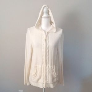 Lena Jeans White Hooded Cable Zip Up Front Sweater